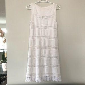 Kate Spade Fringe Sweater Dress Fresh White